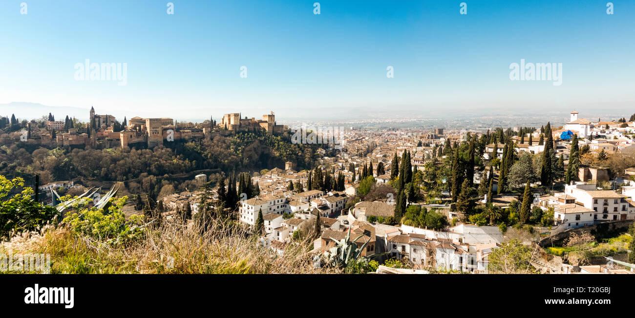 Granada Spain, Albayzin (Albaicin) moorish quarter from Sacromonte, with Alhambra palace. Granada, Andalusia, Spain. - Stock Image