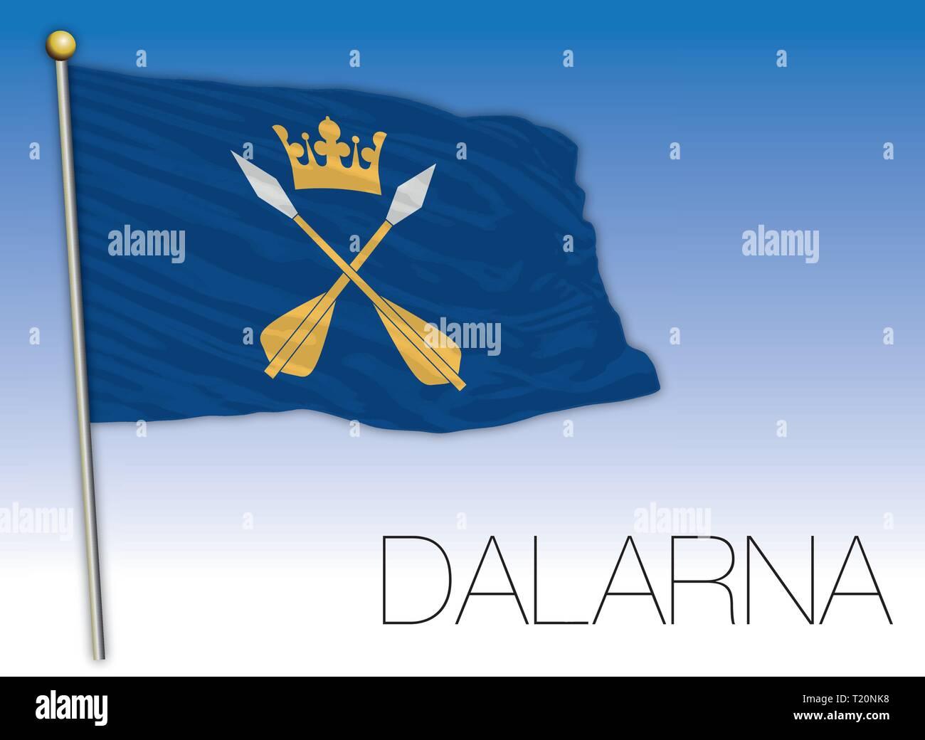 Dalarna regional flag, Sweden, vector illustration - Stock Vector