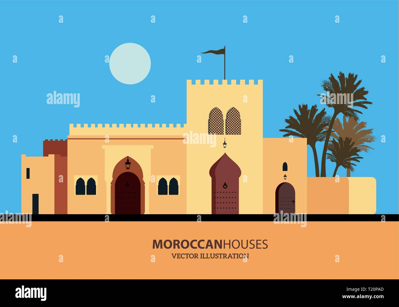 Mediterranean Moroccan or Arabic style houses set. Vector Illustration - Stock Vector