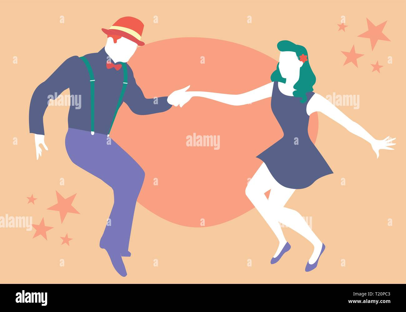 Young couple dancing swing, rock or lindy hop - Stock Vector