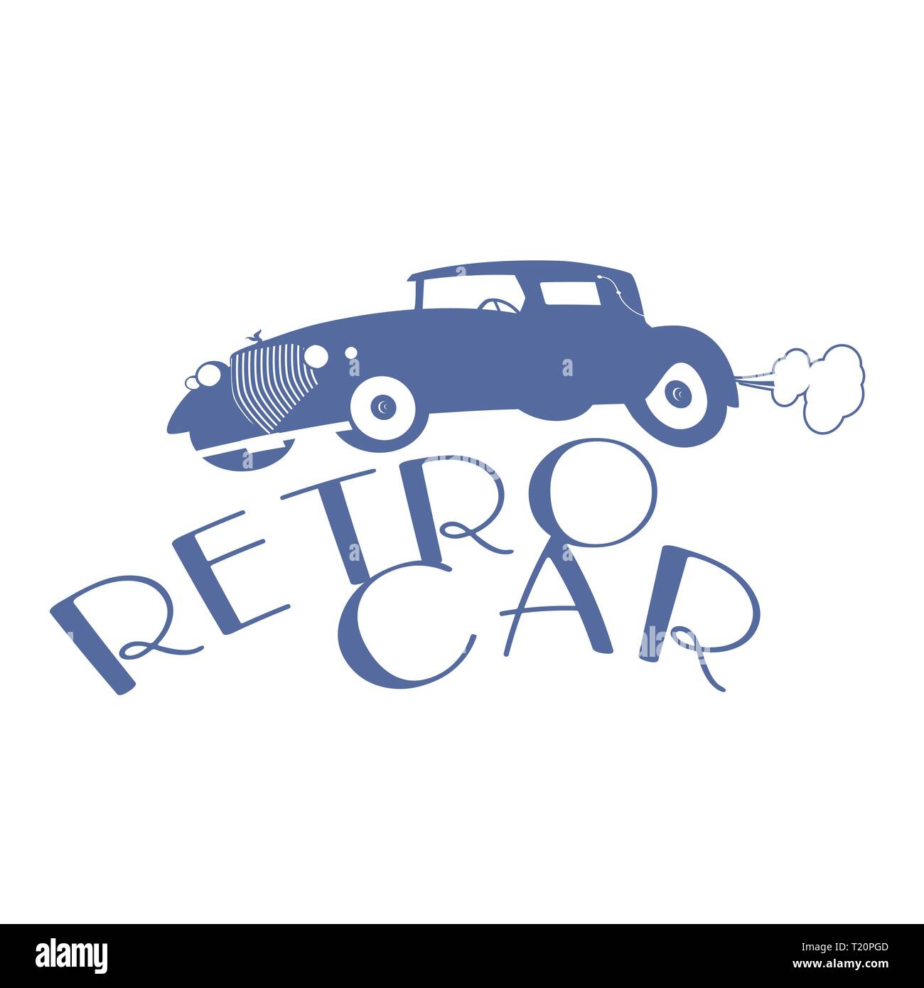 Retro style emblem representing a typical car from the 20s - Stock Vector