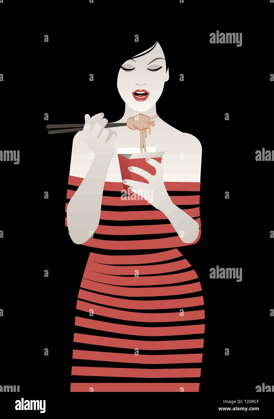 Beautiful girl wearing striped clothes eating spaghetti or noodles with chopsticks. Vector illustration on black background - Stock Vector