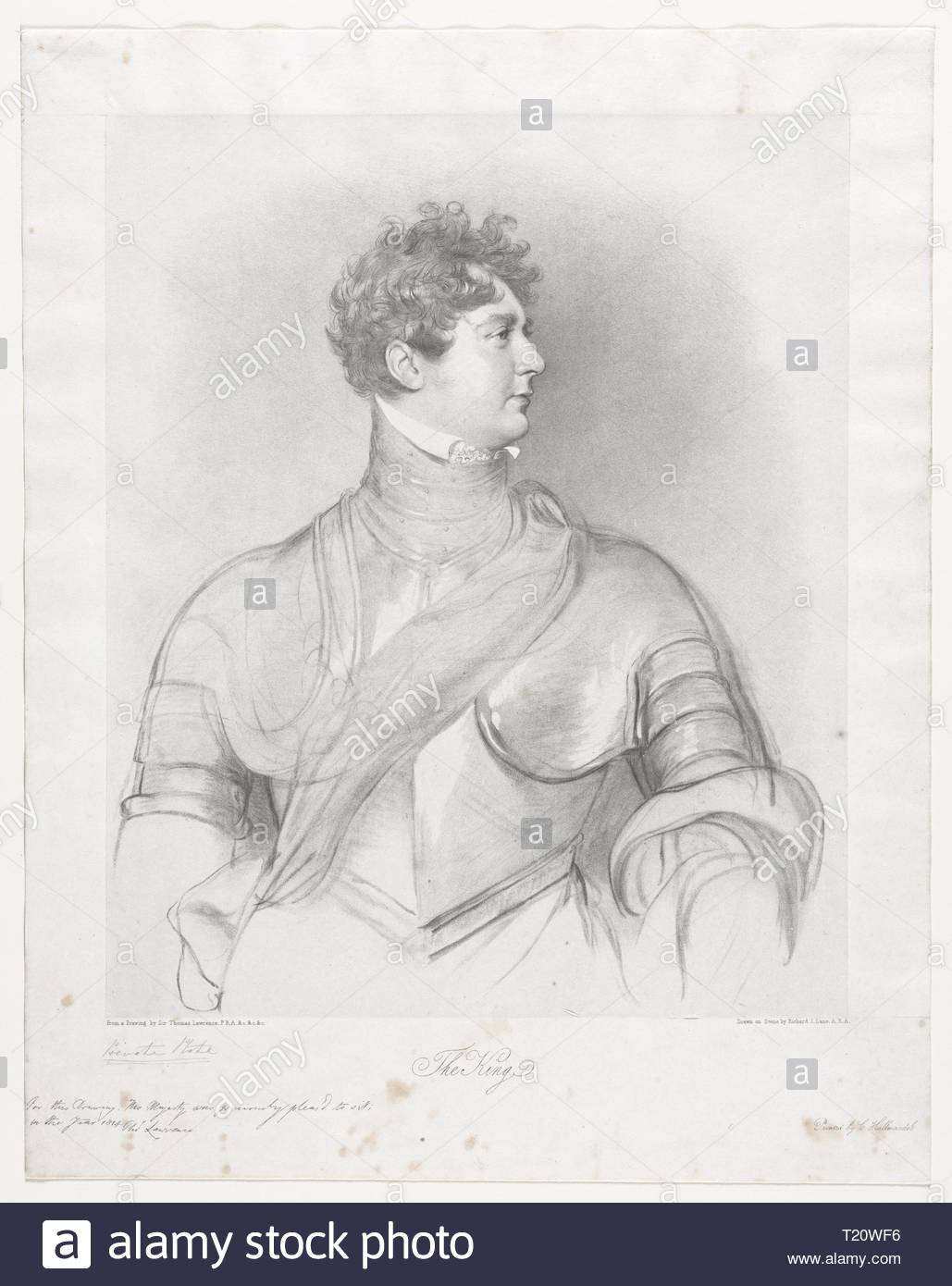 The King, George IV of Great Britain. Richard James Lane (British, 1800-1872). Lithograph. - Stock Image