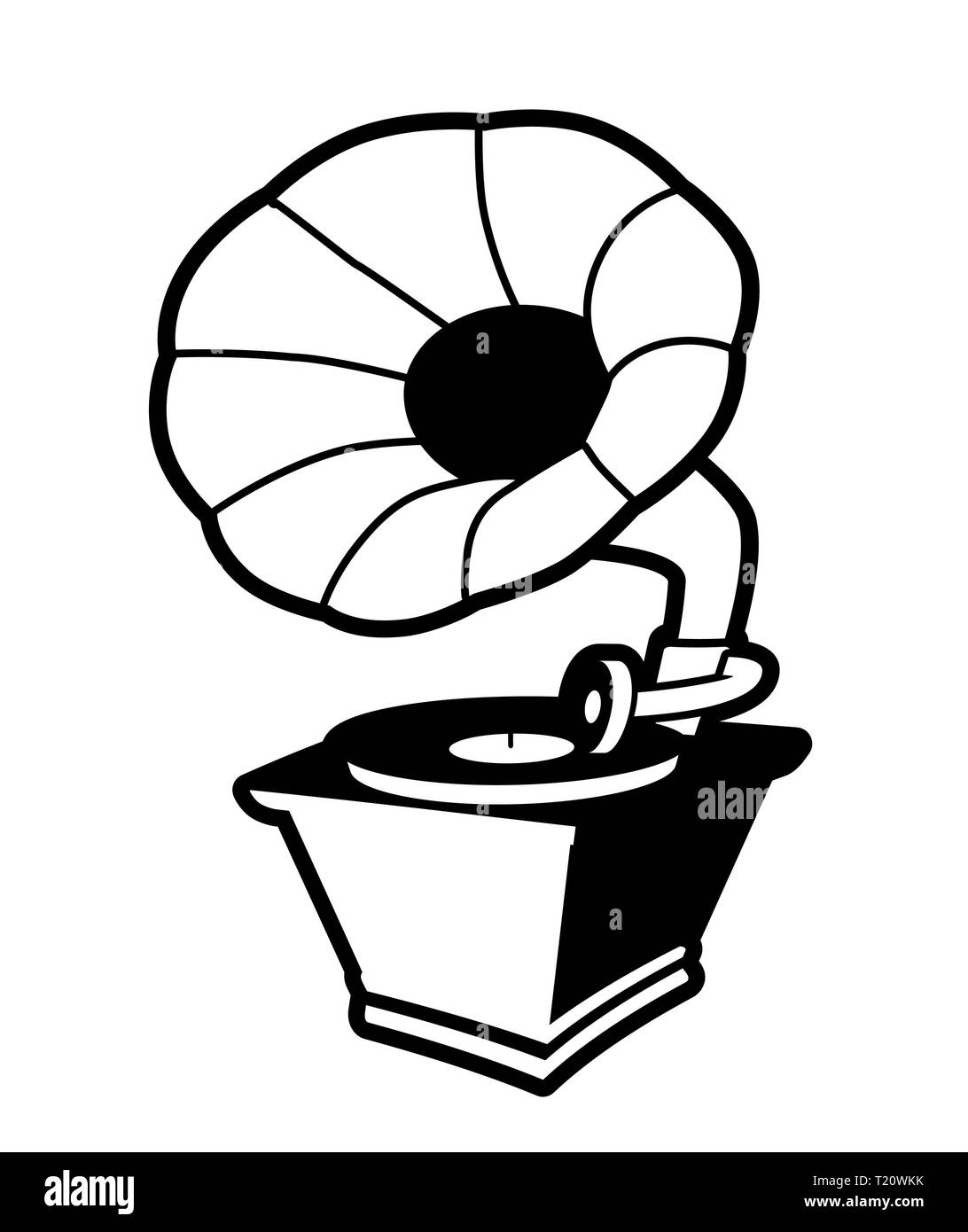 Vintage gramophone isolated on white background - Stock Vector