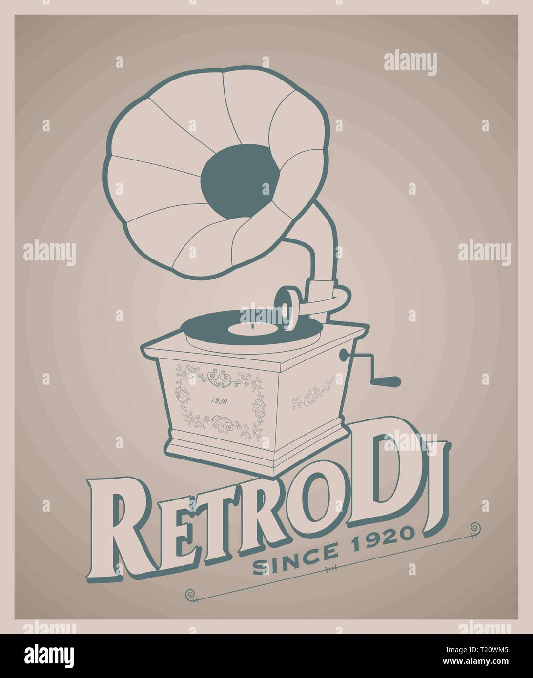 Vintage gramophone and title of old-style lettering. - Stock Vector