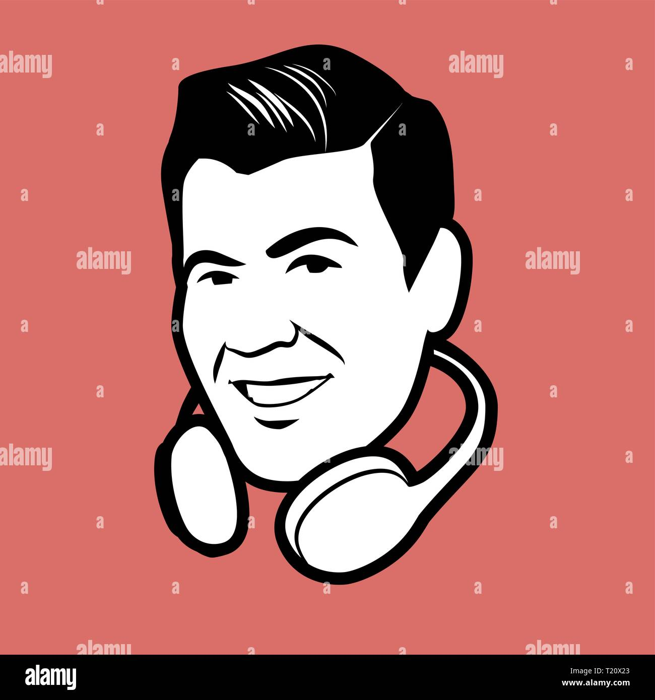 Man retro style with headphones around the head isolated on red background - Stock Vector