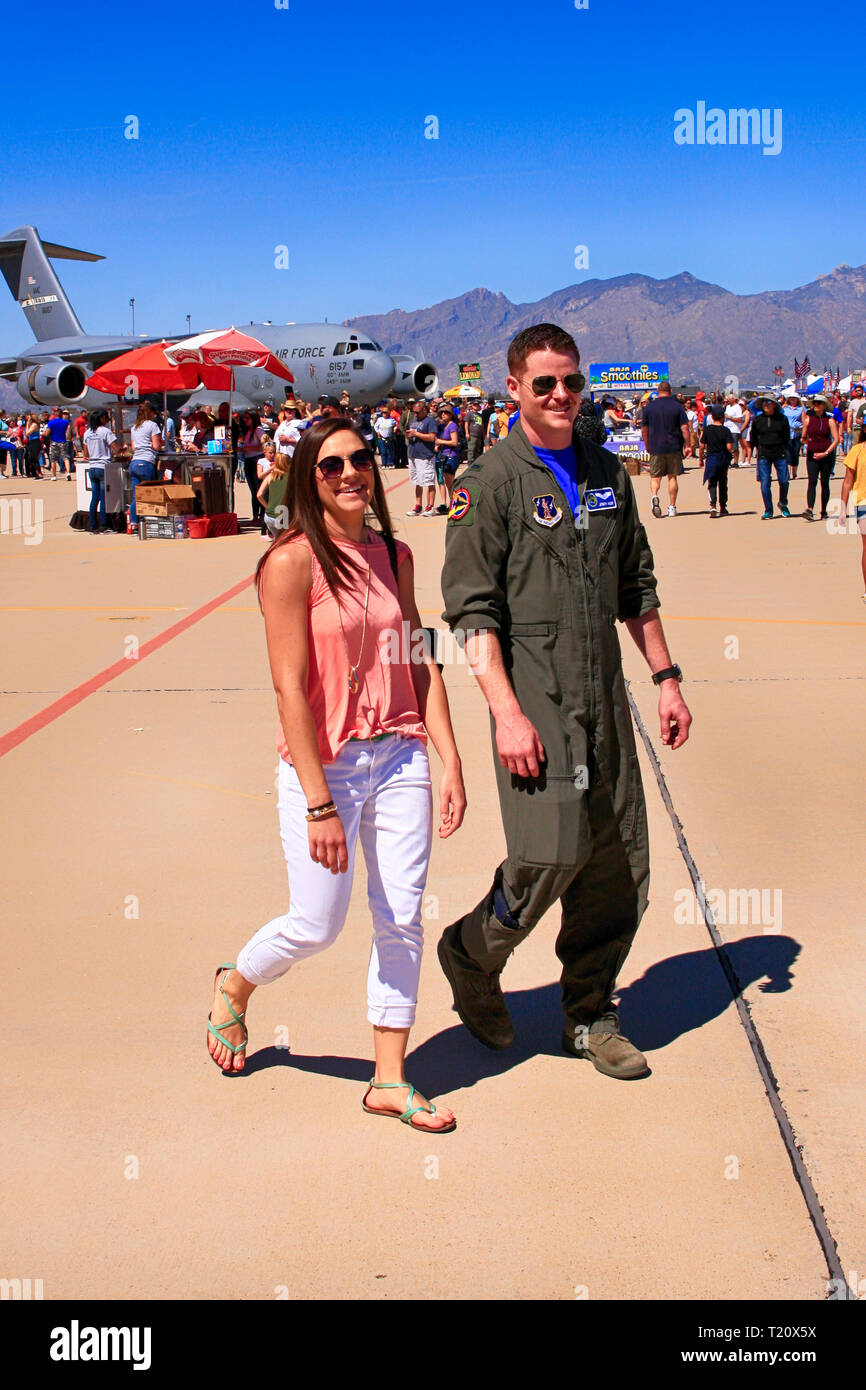 US Air Force Pilot with his girlfriend at the Davis-Monthan AFB airshow in Tucson AZ - Stock Image