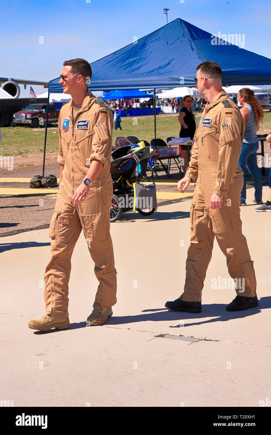 Military flight crewmembers at the Davis-Monthan AFB airshow in Tucson AZ - Stock Image