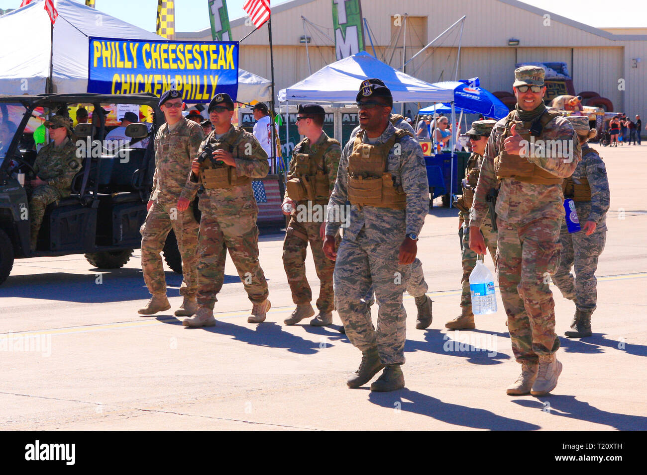 US Military personnel enjoying the day at Davis-Monthan AFB on airshow day in Tucson AZ - Stock Image