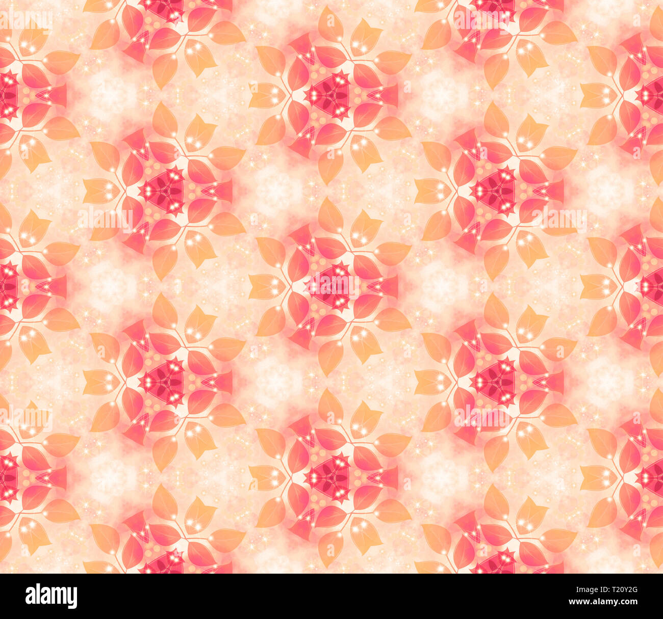 Seamless air pattern, gentle leaves, red-orange. Vegetable wall-paper in style of a fantasy. A romantic background for design, packing paper, greeting - Stock Image