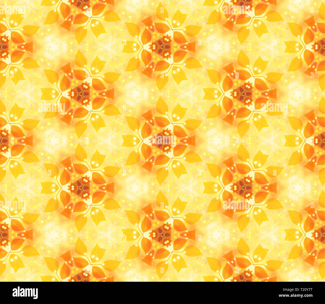 Seamless air pattern, gentle leaves, yellow. Vegetable wall-paper in style of a fantasy. A romantic background for design, packing paper, greeting car - Stock Image