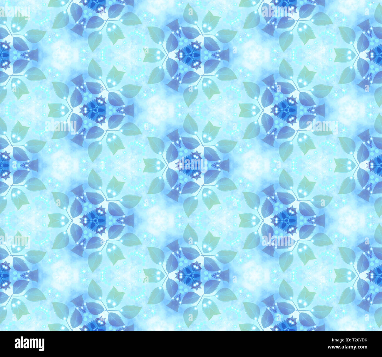 Seamless air pattern, gentle leaves, blue. Vegetable wall-paper in style of a fantasy. A romantic background for design, packing paper, greeting cards - Stock Image