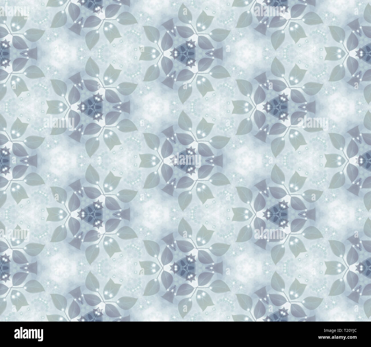 Seamless air pattern, gentle leaves, gray. Vegetable wall-paper in style of a fantasy. A romantic background for design, packing paper, greeting cards - Stock Image