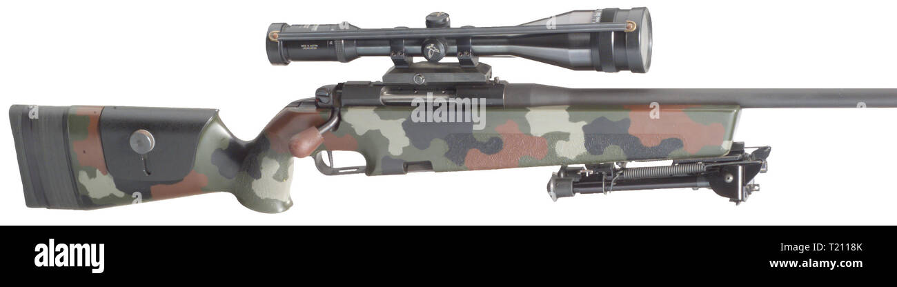 Rifles, Mauser sniper rifle, model 86SR, for military and police, with Harris bipod, Editorial-Use-Only - Stock Image