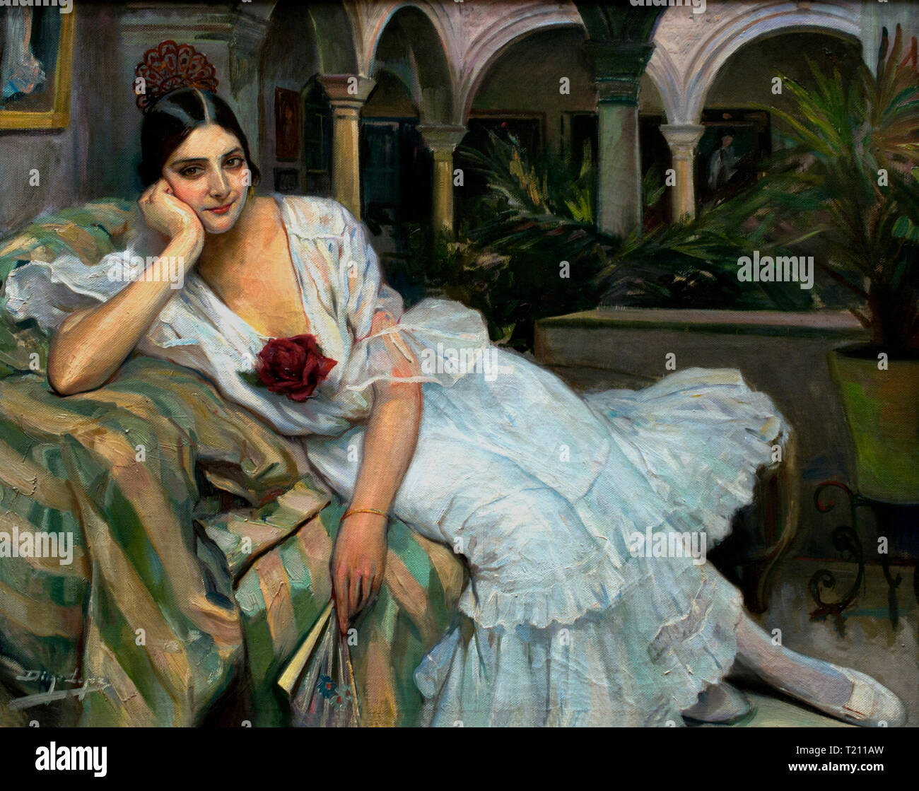 Sevillana en su patio - Sevillian in her yard 1918 Diego Lopez 1876 Spain Spanish - Stock Image