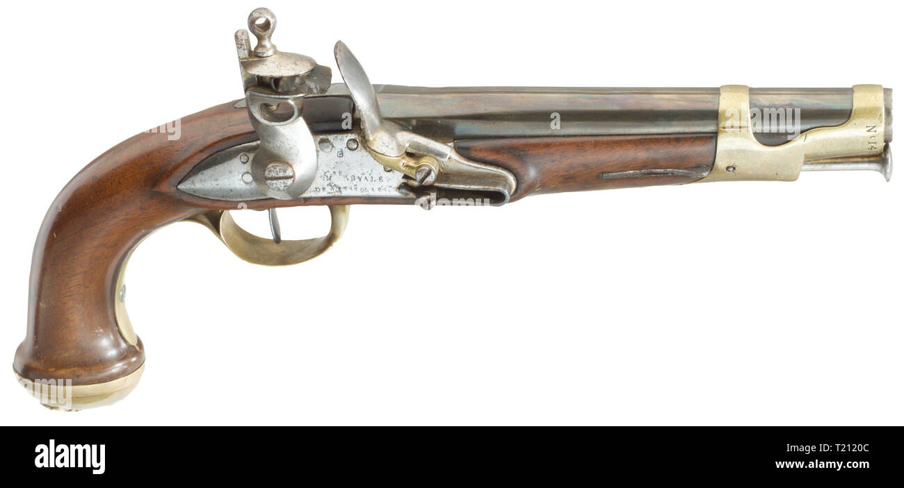 Small arms, pistols, flintlock pistol, Garde du Corps, 2nd version, C. Noailles, Versailles, France, 1816, Additional-Rights-Clearance-Info-Not-Available - Stock Image