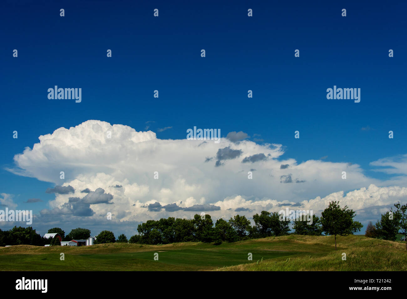 Gathering storm clouds over a tree line with distant farm buildings, Ankeny, Iowa - Stock Image