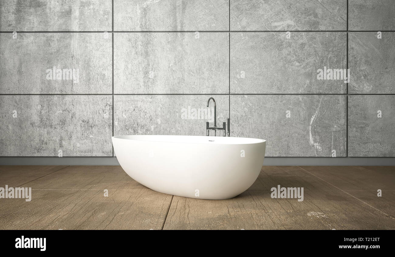 Ceramic White Freestanding Bath In Minimalism Bathroom Interior Design Against Grey Wall Stock Photo Alamy