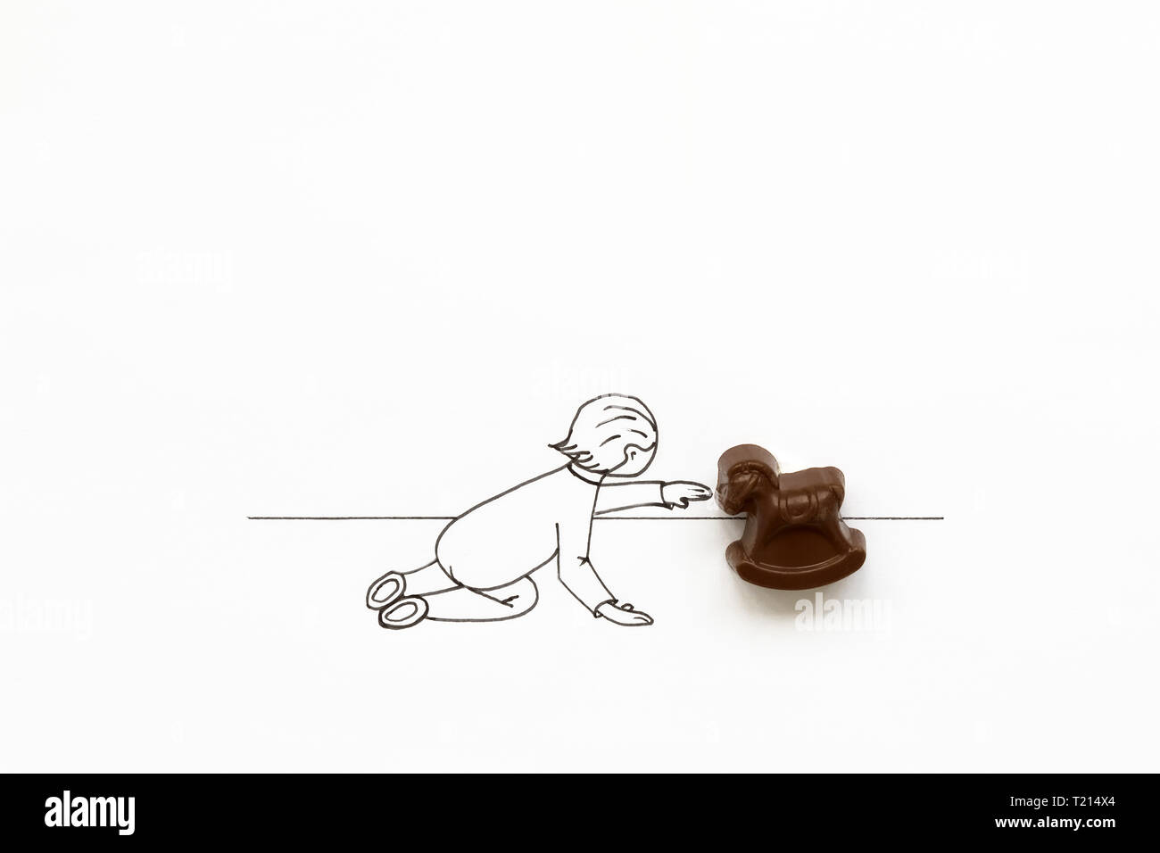 Hand Drawing Cute Cartoon Baby Playing With Toy Rocking Horse Minimal Creative Or Food Art Concept Copy Space Stock Photo Alamy