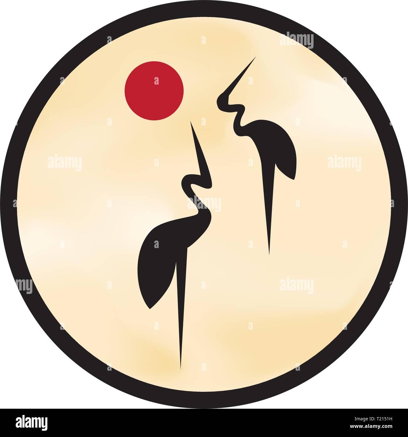 Cranes Logo Feng Shui Bird Of Happiness And Good Luck Stock Vector Image Art Alamy