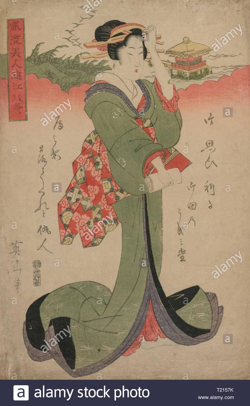 Descending Geese at Katata (From the series Elegant Women and the Eight Views of Lake Biwa), 1810s. Eizan Kikugawa (Japanese, 1787-1867). Color woodblock print; sheet: 39.4 x 26.1 cm (15 1/2 x 10 1/4 in.). - Stock Image