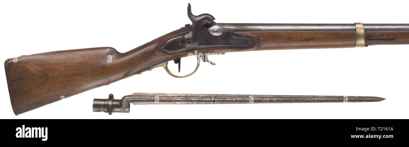 SERVICE WEAPONS, BAVARIA, militia rifle 1849 with bayonet, Additional-Rights-Clearance-Info-Not-Available - Stock Image