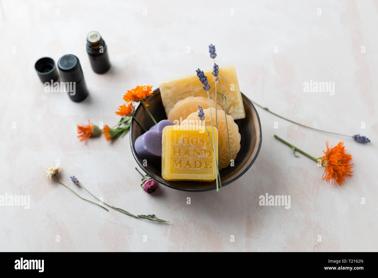 Various glycerin soaps with caustic soda - Stock Image