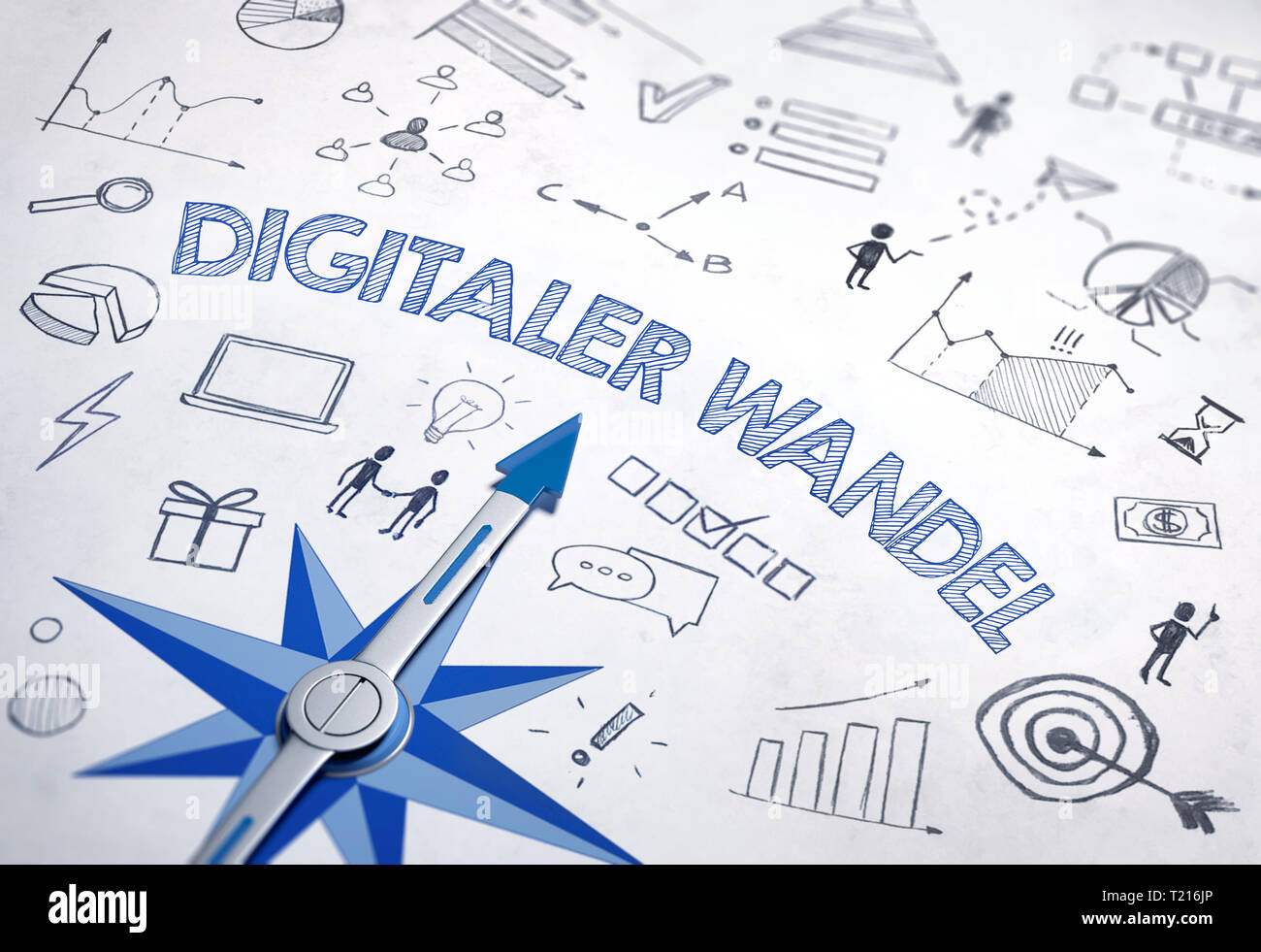 Digitaler wandel (German for 'Digital change') written in bold, blue font in an IT design with compass and various sketches. 3d Rendering - Stock Image