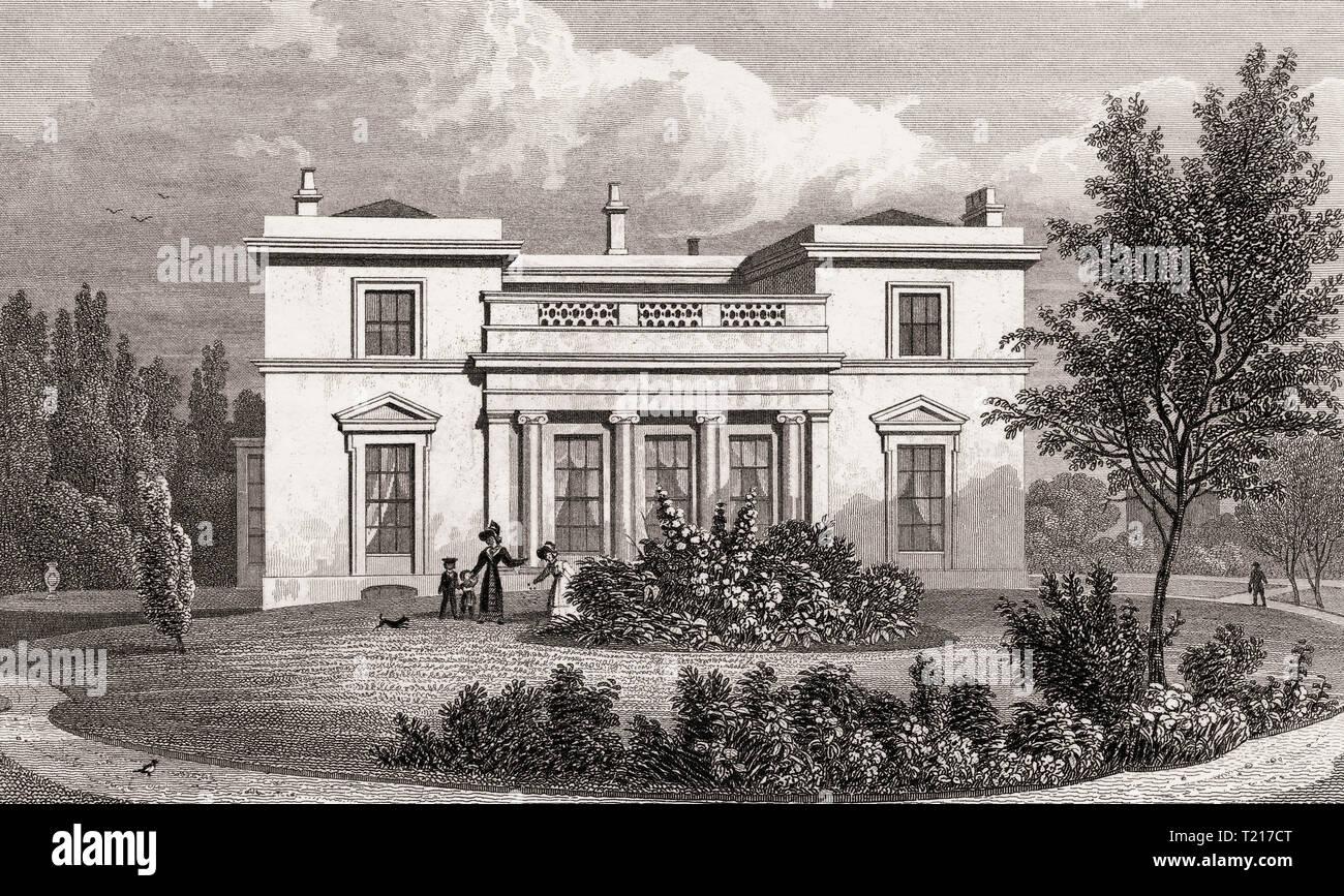 Hanover Lodge, Regent's Park, London, UK, illustration by Th. H. Shepherd, 1826 Stock Photo