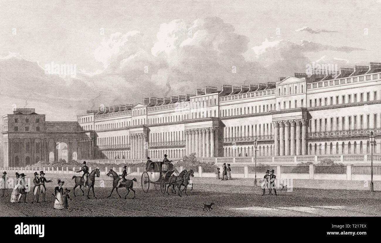 Chester Terrace, Regent's Park, London, UK, illustration by Th. H. Shepherd, 1826 Stock Photo
