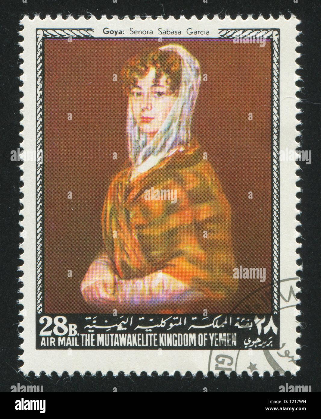 YEMEN - CIRCA 1972: stamp printed by Yemen, shows Senora Sabasa Garcia by Goya, circa 1972 - Stock Image