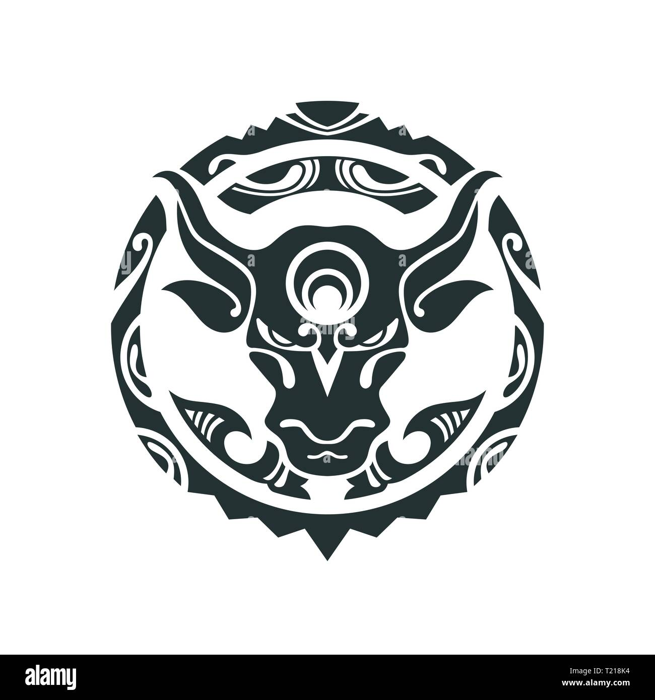 Tattoo of a bull in Polynesian style. Vector illustration. Traditional Maori Taniwha tattoo design - Stock Vector