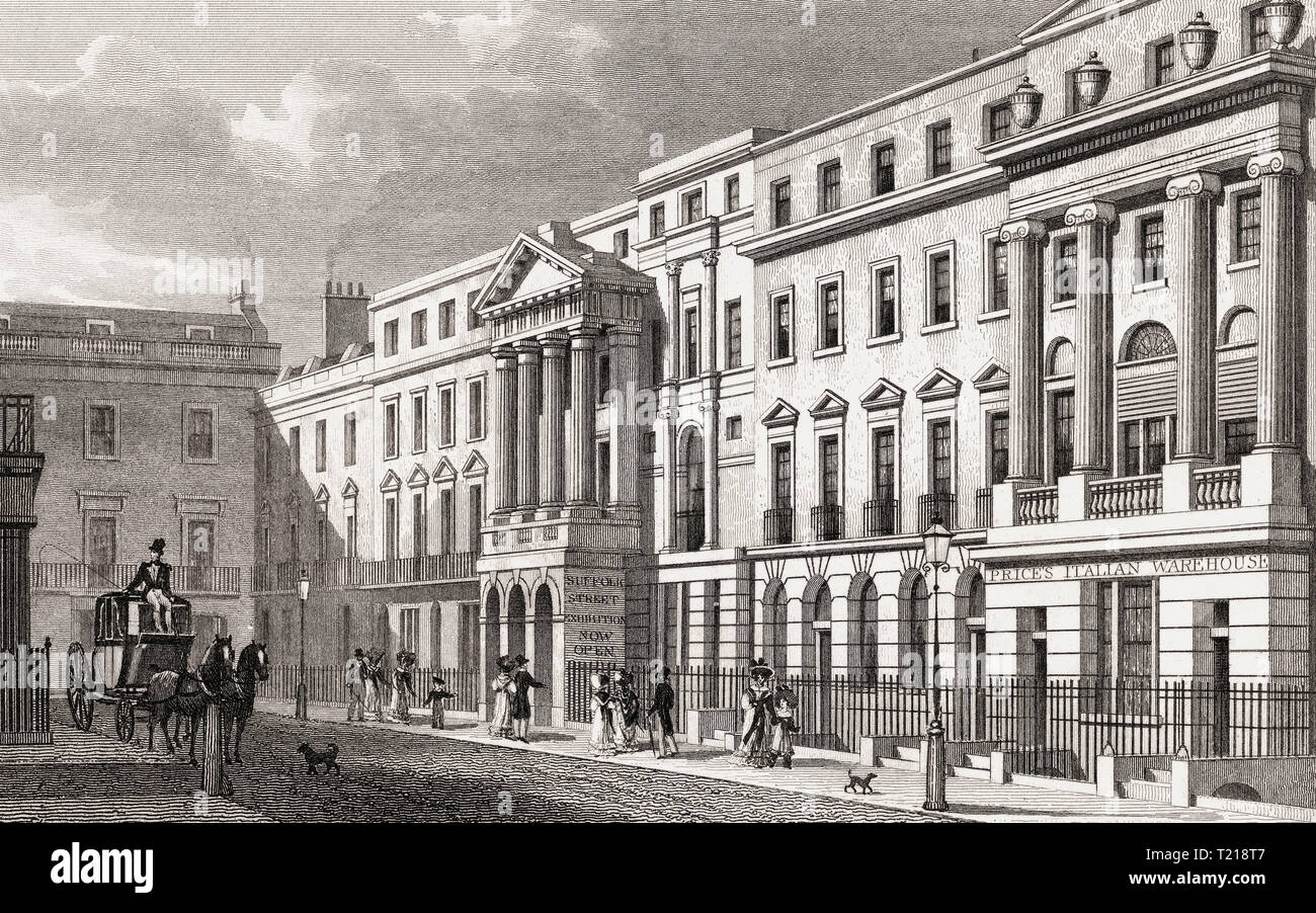 Pall Mall East and Suffolk Street, London, UK, illustration by Th. H. Shepherd, 1826 - Stock Image