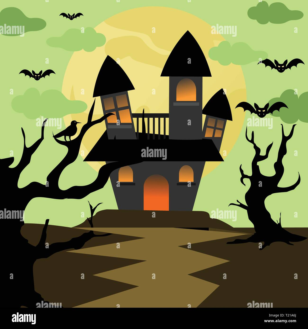 Scary Halloween House Background Vector Illustration Graphic
