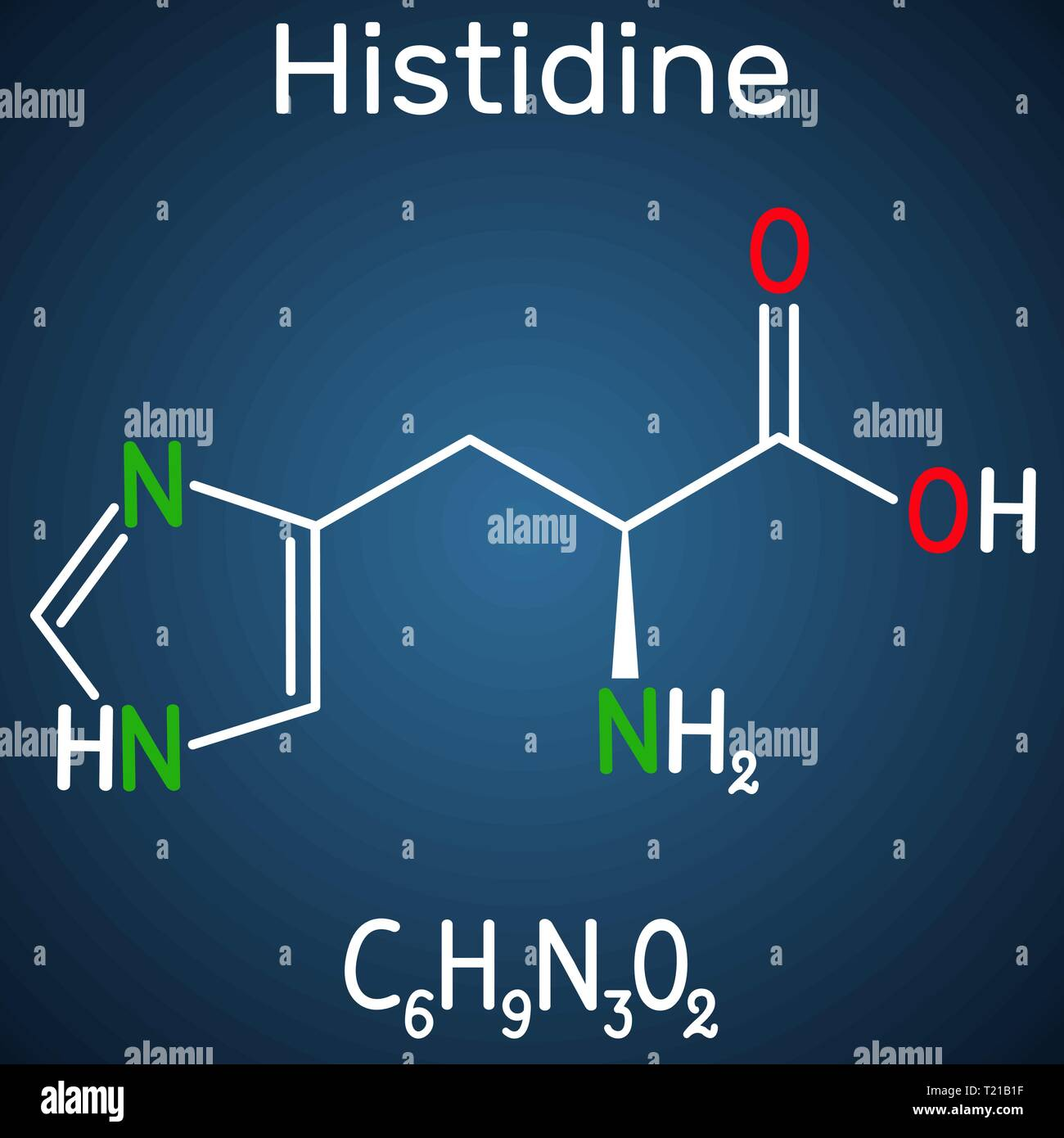 Histidine (L- histidine, His, H) amino acid molecule. It is used in the biosynthesis of proteins. Structural chemical formula on the dark blue backgro - Stock Image