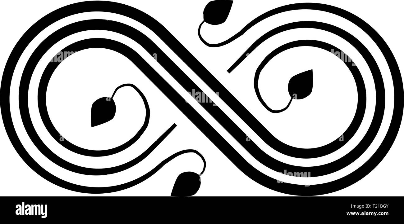 Infinity flourish symbol icon - black, isolated - vector illustration - Stock Image