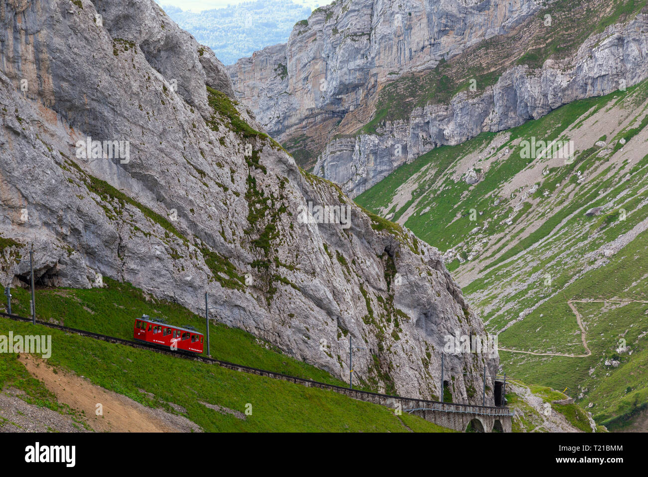 Cogwheel railway to Mount Pilatus, a recreational mountain near Lucerne, the 48% gradient making it the steepest cogwheel railw - Stock Image