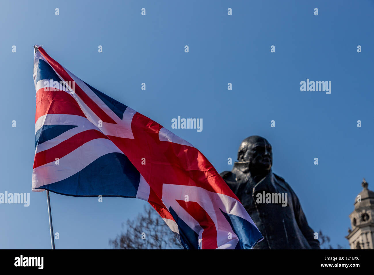 Westminster, London, UK. 29th Mar 2019. The march to leave the EU by Brexit supporters, took place at Parliament Square in Westminster, on Friday 29 March 2019. Credit: chrispictures/Alamy Live News Stock Photo