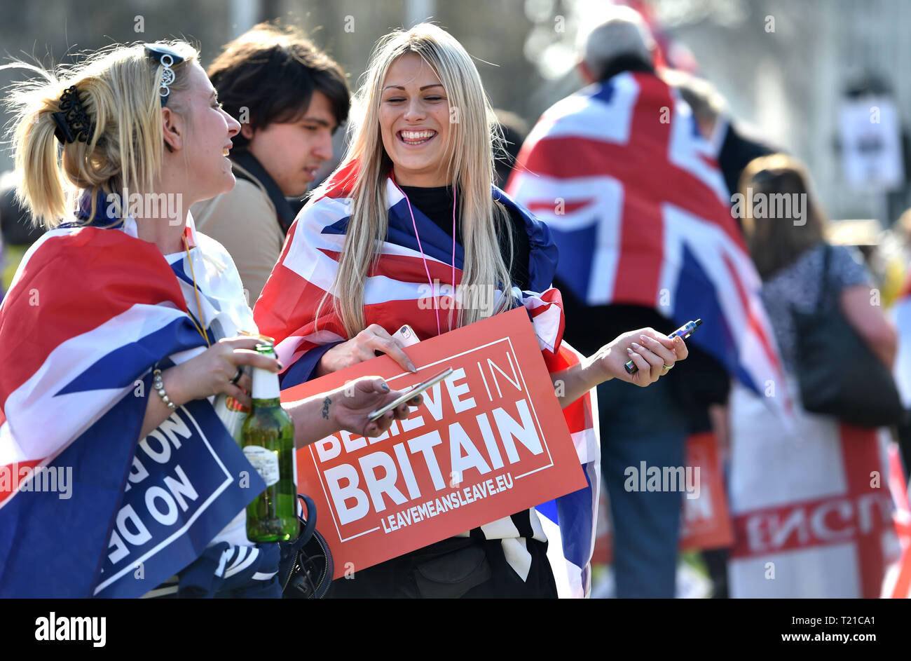 London, UK. 29th Mar, 2019. Thousands of Pro Brexit supporters join the Brexiteers Rally in Parliament Square London today as they show their anger at not leaving the EU today causing traffic chaos in the city . MP's are sitting today to debate leaving the European Parliament on the day it was originally supposed to happen Credit: Simon Dack/Alamy Live News Stock Photo