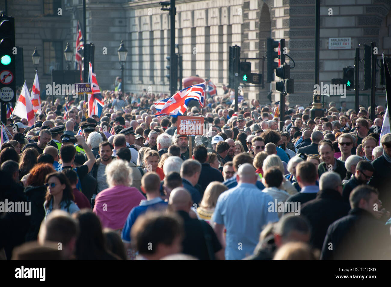 London, United Kingdom. 29th Mar, 2019. A Pro Leave protestor holding a Believe In Britain sign during a rally near Parliament Square. Credit: Sandip Savasadia/Alamy Live News - Stock Image