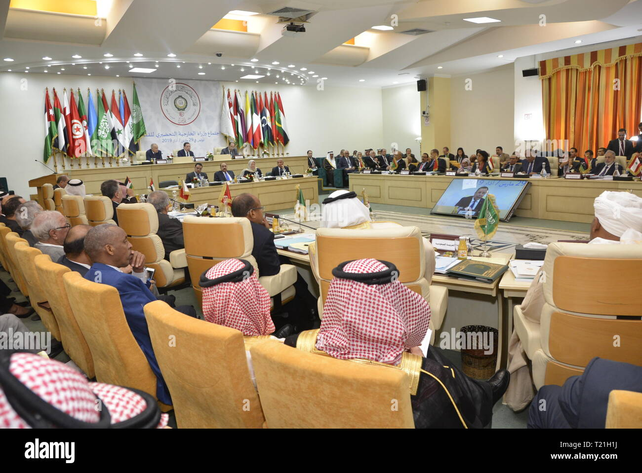 Tunis. 29th Mar, 2019. Photo taken on March 29, 2019 shows the Arab foreign ministers' preparatory meeting for the 30th Arab summit in Tunis, capital of Tunisia. The preparatory meetings of the 30th Arab summit continued Friday in Tunis to consolidate joint Arab action. Credit: Adele Ezzine/Xinhua/Alamy Live News - Stock Image