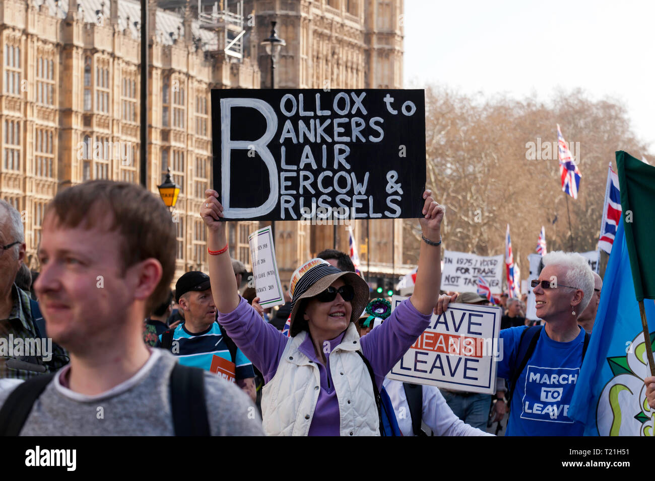 Protestors marching by the Houses of  Parliament to demonstrate against the delay to Brexit  on the day the UK should have left the EU Stock Photo