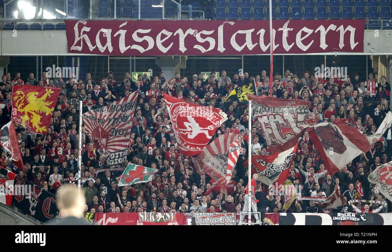 Duisburg, Deutschland. 29th Mar, 2019. firo: 29.03.2019 Football, 3rd Bundesliga, season 2018/2019 KFC Uerdingen 05 - 1. FC Kaiserslautern The fan block of Kaiserslautern. | usage worldwide Credit: dpa/Alamy Live News - Stock Image