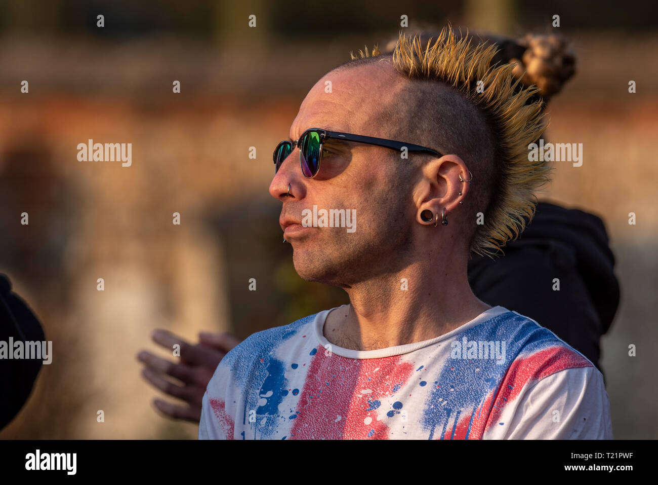 Braintree, Essex, United Kingdom. 29 March 2019. A large crowd gathered in Braintree, Essex for the funeral of Prodigy singer Keith Flint. Credit: Peter Manning/Alamy Live News Stock Photo