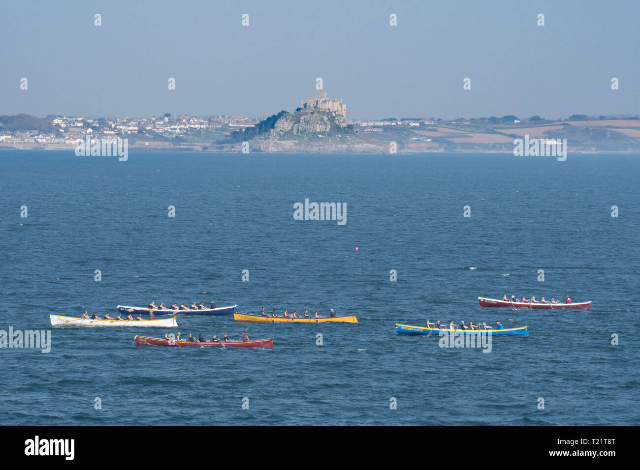 Newlyn, Cornwall, UK. 30th Mar, 2019. UK Weather. Fine weather for gig racers out competing on the sea at Mounts Bay this afternoon. Credit: Simon Maycock/Alamy Live News Stock Photo
