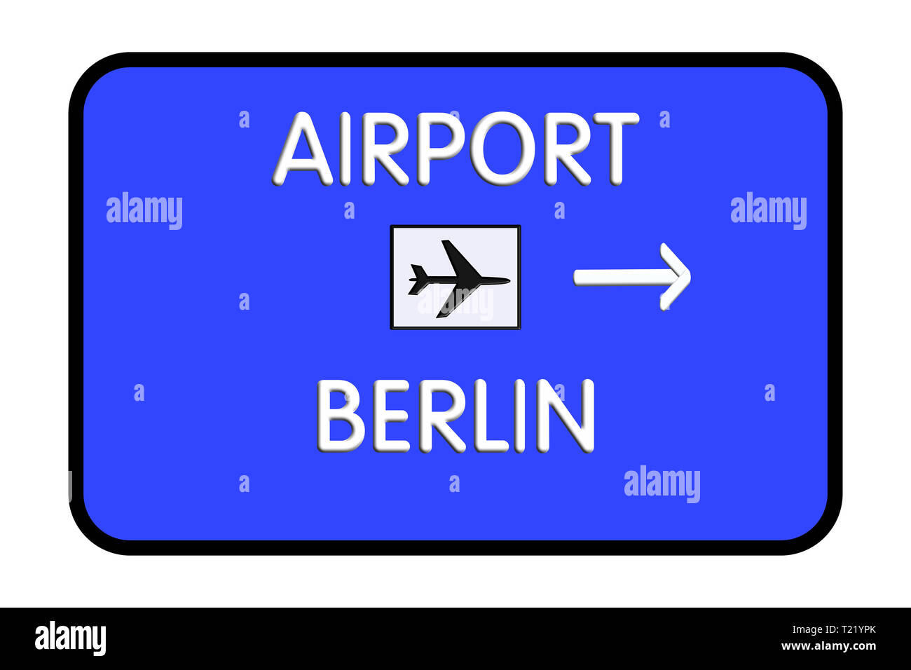 Berlin Germany Airport Highway Road Sign 3D Illustration - Stock Image