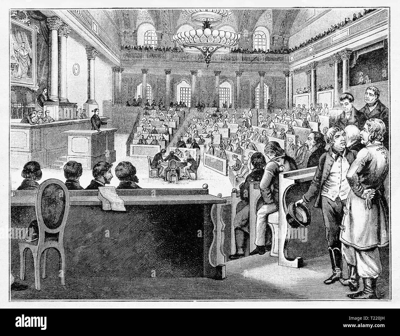 Meeting of the first Austrian Reichstag in Vienna / July 1848. Digital improved reproduction from Illustrated overview of the life of mankind in the 19th century, 1901 edition, Marx publishing house, St. Petersburg. - Stock Image