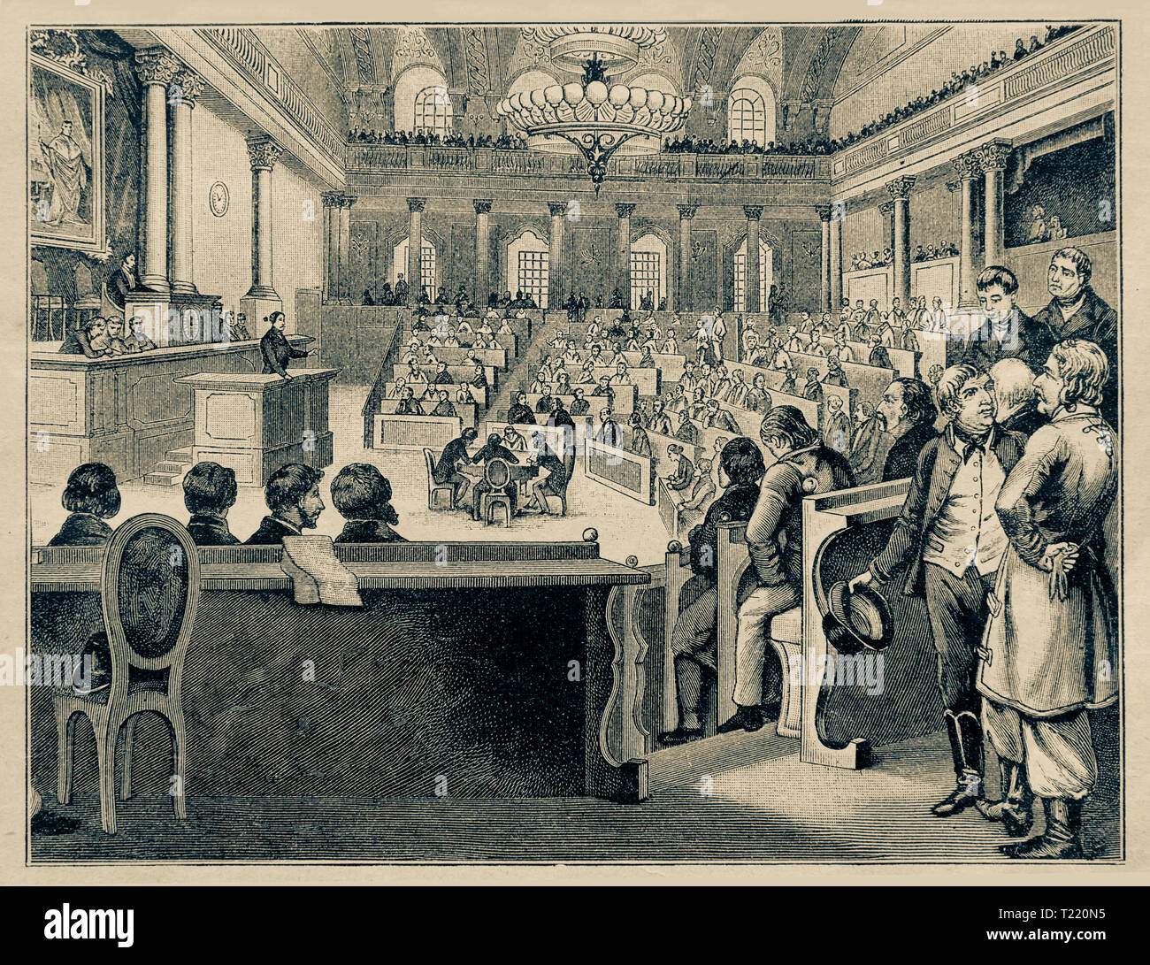 Meeting of the first Austrian Reichstag in Vienna / July 1848. Digital improved reproduction from Illustrated overview of the life of mankind in the 19th century, 1901 edition, Marx publishing house, St. Petersburg. Stock Photo