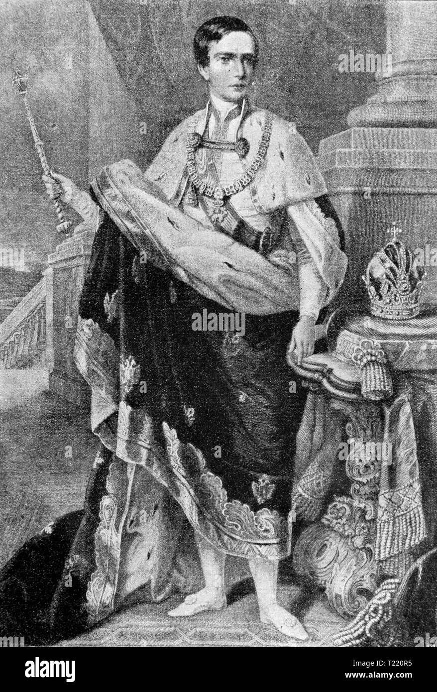 Franz Joseph I, Emperor of Austria. In 1849 engraving. Digital improved reproduction from Illustrated overview of the life of mankind in the 19th century, 1901 edition, Marx publishing house, St. Petersburg. - Stock Image