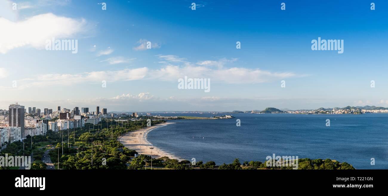 High-resolution panorama of Aterro do Flamengo, Santos Dumont Airport, Ponte Rio-Niteroi, Financial District and Guanabara Bay, Rio de Janeiro, Brazil - Stock Image